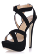 Women's Suede Stiletto Heel Sandals Platform With Buckle shoes (087015245)