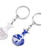 Personalized Blue-and-white Phoenix Design Chrome Keychains (Set of 4 Pairs) (118030643)