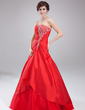 Ball-Gown Sweetheart Floor-Length Taffeta Quinceanera Dress With Ruffle Beading (021004571)
