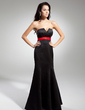 Empire Scalloped Neck Floor-Length Satin Evening Dress With Sash Bow(s) (017014922)