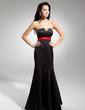 Empire Scalloped Neck Floor-Length Satin Evening Dress With Sash Bow(s) (017014922)