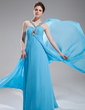Empire V-neck Sweep Train Chiffon Evening Dress With Ruffle Beading (017004349)