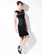 Sheath/Column Scoop Neck Knee-Length Satin Cocktail Dress (016021176)