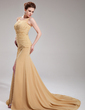 A-Line/Princess Scoop Neck Court Train Chiffon Evening Dress With Ruffle Beading Split Front (017019732)