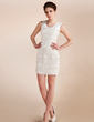 Sheath/Column Scoop Neck Short/Mini Chiffon Wedding Dress With Lace Beading (002012815)
