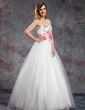 A-Line/Princess Sweetheart Floor-Length Tulle Prom Dress With Sash Beading Flower(s) Sequins (018018911)
