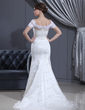 Trumpet/Mermaid Off-the-Shoulder Court Train Tulle Wedding Dress With Ruffle Lace Beading (002011606)
