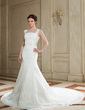 Trumpet/Mermaid Square Neckline Chapel Train Satin Lace Wedding Dress With Bow(s) (002000632)