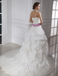 Ball-Gown Strapless Cathedral Train Taffeta Wedding Dress With Lace Sash Beading Sequins Bow(s) (002015465)