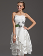 A-Line/Princess Sweetheart Knee-Length Organza Homecoming Dress With Sash Feather Flower(s) Bow(s) Cascading Ruffles (022009149)