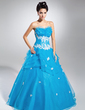 Ball-Gown Scalloped Neck Floor-Length Organza Quinceanera Dress With Beading Appliques Lace Sequins Cascading Ruffles (021015118)