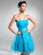 A-Line/Princess Sweetheart Knee-Length Organza Cocktail Dress With Ruffle (016015116)