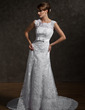 A-Line/Princess Square Neckline Chapel Train Tulle Wedding Dress With Appliques Lace Bow(s) (002000631)