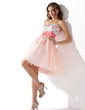 A-Line/Princess Sweetheart Knee-Length Tulle Homecoming Dress With Sash Beading Sequins (022013755)