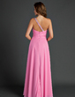 A-Line/Princess One-Shoulder Floor-Length Chiffon Holiday Dress With Ruffle Beading (020015525)