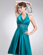 A-Line/Princess Halter Knee-Length Charmeuse Holiday Dress With Beading (020020920)
