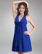 Empire Halter Short/Mini Chiffon Bridesmaid Dress With Flower(s) Cascading Ruffles (007000830)