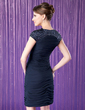 Sheath/Column Scoop Neck Knee-Length Chiffon Mother of the Bride Dress With Ruffle Beading Sequins (008006295)