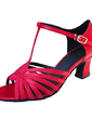 Women's Satin Heels Sandals Latin With T-Strap Dance Shoes (053013392)