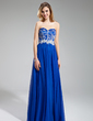 A-Line/Princess Sweetheart Floor-Length Chiffon Prom Dress With Beading Appliques Lace (018018772)