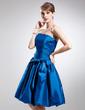 A-Line/Princess Strapless Knee-Length Taffeta Bridesmaid Dress With Ruffle Bow(s) (007020918)