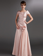 A-Line/Princess Off-the-Shoulder Floor-Length Chiffon Charmeuse Mother of the Bride Dress With Ruffle Beading Flower(s) (008006118)