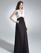 Empire V-neck Floor-Length Chiffon Satin Bridesmaid Dress With Ruffle (007001874)