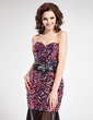Trumpet/Mermaid Sweetheart Floor-Length Tulle Sequined Prom Dress With Sash Beading (018018870)