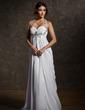 Imperialna Kochanie Tren Dotykający ziemi Chiffon Suknia Ślubna Z Żabot Perełki (002011570)