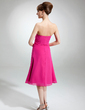 A-Line/Princess Strapless Knee-Length Chiffon Bridesmaid Dress With Ruffle Beading (007001814)