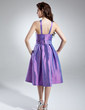 A-Line/Princess Scoop Neck Knee-Length Taffeta Homecoming Dress With Ruffle (022016009)