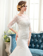 Trumpet/Mermaid Scoop Neck Court Train Tulle Lace Wedding Dress With Beading (002054364)