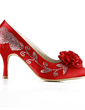 Women's Satin Stiletto Heel Closed Toe Pumps With Rhinestone Satin Flower (047016476)