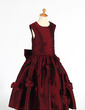 A-Line/Princess Tea-length Flower Girl Dress - Taffeta Sleeveless Scoop Neck With Ruffles/Flower(s)/Sequins/Bow(s) (010014652)