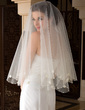 One-tier Fingertip Bridal Veils With Pearl Trim Edge (006036627)
