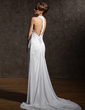 Sheath/Column Halter Court Train Chiffon Wedding Dress With Ruffle Beading Appliques Lace (002011507)