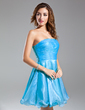 A-Line/Princess Strapless Short/Mini Organza Cocktail Dress With Ruffle (016015584)
