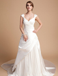 A-Line/Princess Sweetheart Cathedral Train Chiffon Satin Tulle Wedding Dress With Pleated (002011520)