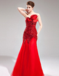 Trumpet/Mermaid Sweetheart Floor-Length Tulle Sequined Prom Dress With Flower(s) (018005082)