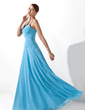 A-Line/Princess V-neck Floor-Length Chiffon Bridesmaid Dress With Ruffle Beading (007001100)