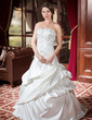 A-Line/Princess Sweetheart Court Train Satin Wedding Dress With Ruffle Beading Sequins (002000443)