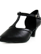 Women's Real Leather Heels Pumps Character Shoes With T-Strap Dance Shoes (053013128)