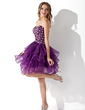 A-Line/Princess Sweetheart Knee-Length Organza Cocktail Dress With Beading Cascading Ruffles (016013753)