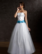 Ball-Gown Strapless Floor-Length Tulle Quinceanera Dress With Sash Beading Appliques Lace Bow(s) (021002291)