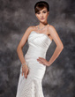 A-Line/Princess Sweetheart Sweep Train Charmeuse Evening Dress With Pleated (017022539)
