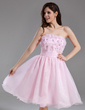 A-Line/Princess Strapless Knee-Length Organza Homecoming Dress With Ruffle Beading Flower(s) Sequins (022020838)