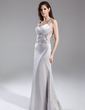 Sheath/Column V-neck Floor-Length Charmeuse Evening Dress With Beading (017015814)