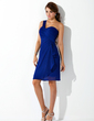 Sheath/Column One-Shoulder Knee-Length Chiffon Homecoming Dress With Cascading Ruffles (022010850)