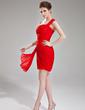 Sheath/Column One-Shoulder Short/Mini Chiffon Cocktail Dress With Ruffle Beading (016021287)