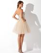 Çan/Prenses Kalp Kesimli Diz Hizası Satin Tulle Mezunlar Gecesi Elbisesi Ile Boncuklama (022009621)